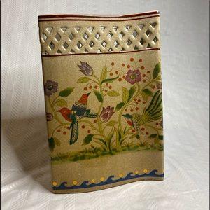 Beautiful Asian pocket vase flower bird pattern.